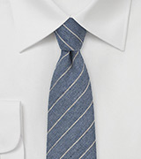 Denim Blue Pencil Stripe Wool Tie