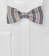 Denim and Beige Striped Bow Tie