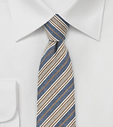 Trendy Striped Tie in Denim Blue and Tan