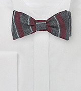 Wool Striped Bow Tie in Gray and Burgundy