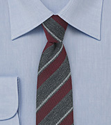 Trendy Wool Striped Skinny Tie in Gray and Burgundy