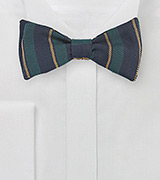 Winter Wool Bow Tie in Hunter Green and Navy