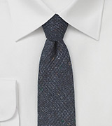 Dark Navy Wool Tie with Glen Check Print