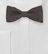 Dark Brown Glen Check Wool Bow Tie