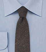 Espresso Brown Wool Print Necktie