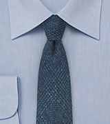 Blue and Teal Wool Print Tie
