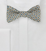 Vintage Print Wool Bow TIe in Olive and Blue