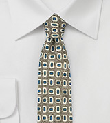 Olive and Blue Wool Print Skinny Tie