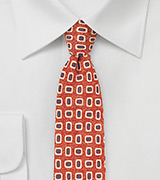 Wool Print Skinny Tie in Orange