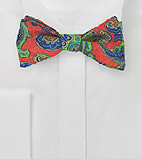 Wool Bow Tie in Orange, Green, and Blue