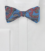 Wool Paisley Bow Tie in Blue