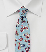Paisley Print Tie in Wool in Light Blue
