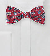 Cherry Red and Blue Wool Bow Tie