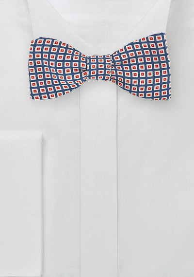 Vintage 70s Bow Tie in Blue, Orange, Tan