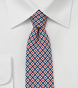 Retro Graphic Print Tie in Blue, Red, Cream