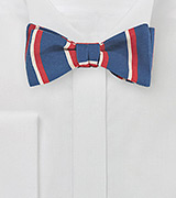 Retro Striped Skinny Tie in Blue, Orange, Cream