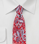 Summer Paisley Silk Tie in Bright Red