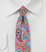 Colorful Silk Paisley Tie in Pink and Blues