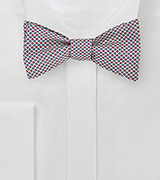 Geometric Print Bow Tie in Blue and Red