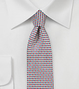 Geometric Print Silk Tie in Blue and Red