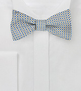 Geometric Print Silk Bow Tie in Blue, White, Yellow