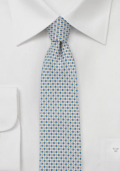 Geometric Print Designer Tie in Blue and Yellow