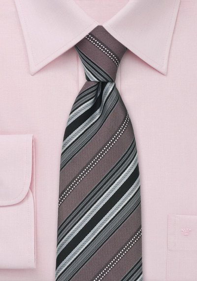 Taupe Gray Striped Silk Necktie