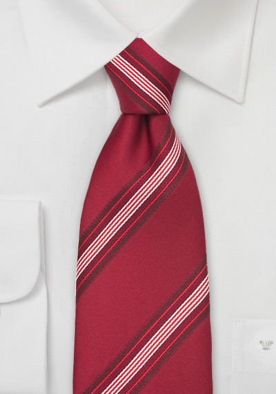 Venetian Red Striped Silk Tie