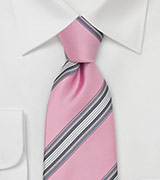 Striped Designer Tie in Rose-Pink