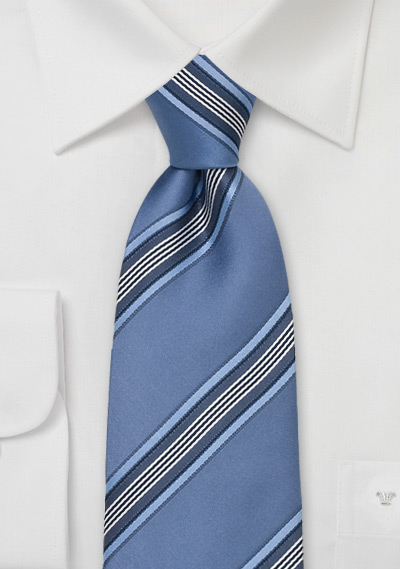 Royal Blue Striped Silk Necktie
