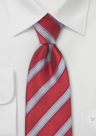 Bright Red and Gray Striped Tie