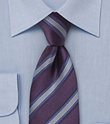 Eggplant Purple and Blue Striped Tie