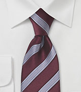 Burgundy and Silver Striped Tie