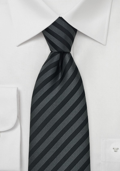Charcoal Silk Tie With Subtle Stripes