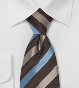 "Italian Striped Tie ""Verona"" Brown & Light Blue"