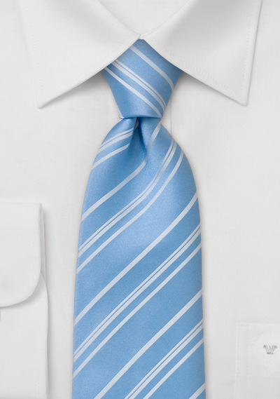 Striped Tie <br> Baby Blue Tie with fine white stripes