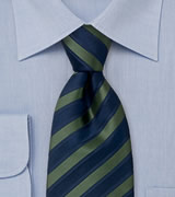 Striped navy blue and forest green silk tie   Navy blue and dark green striping pattern