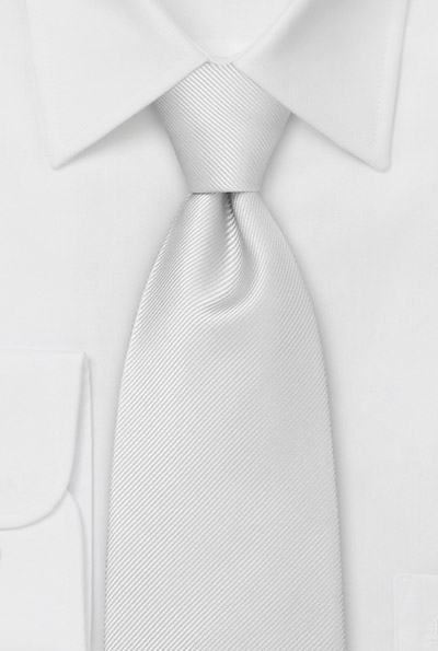 Silk Tie white with fine striped Structure