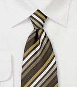 Striped tie with beige brown and white diagonal striping pattern