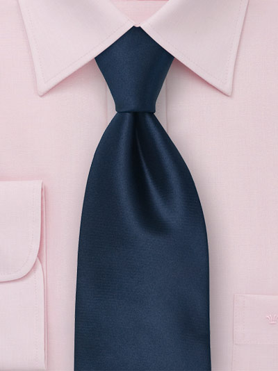 Solid Color Necktie In Dark Blue Handmade Silk Tie In Deep