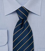 Extra Long Mens Tie in Blue and Yellow