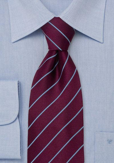 Extra long ties<br>Purple silk tie with light blues stripes
