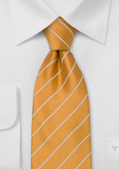 Extra Long Necktie<br>Ginger yellow with fine white stripes