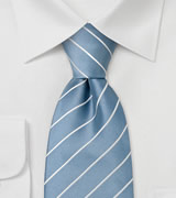 Extra long ties Light blue striped silk tie