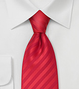 Solid color red necktie<br>Stain resistant Microfiber tie in bright red