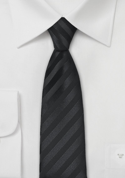 Striped Black Skinny Tie