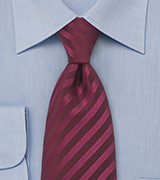 Extra long solid color tie Stain resistant microfiber tie in burgundy red