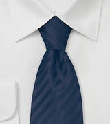 Solid Dark Blue Striped Tie in XL Length