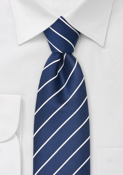 Marine Blue and White Striped Kids Tie