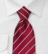Striped Cherry Red Tie in XL Size
